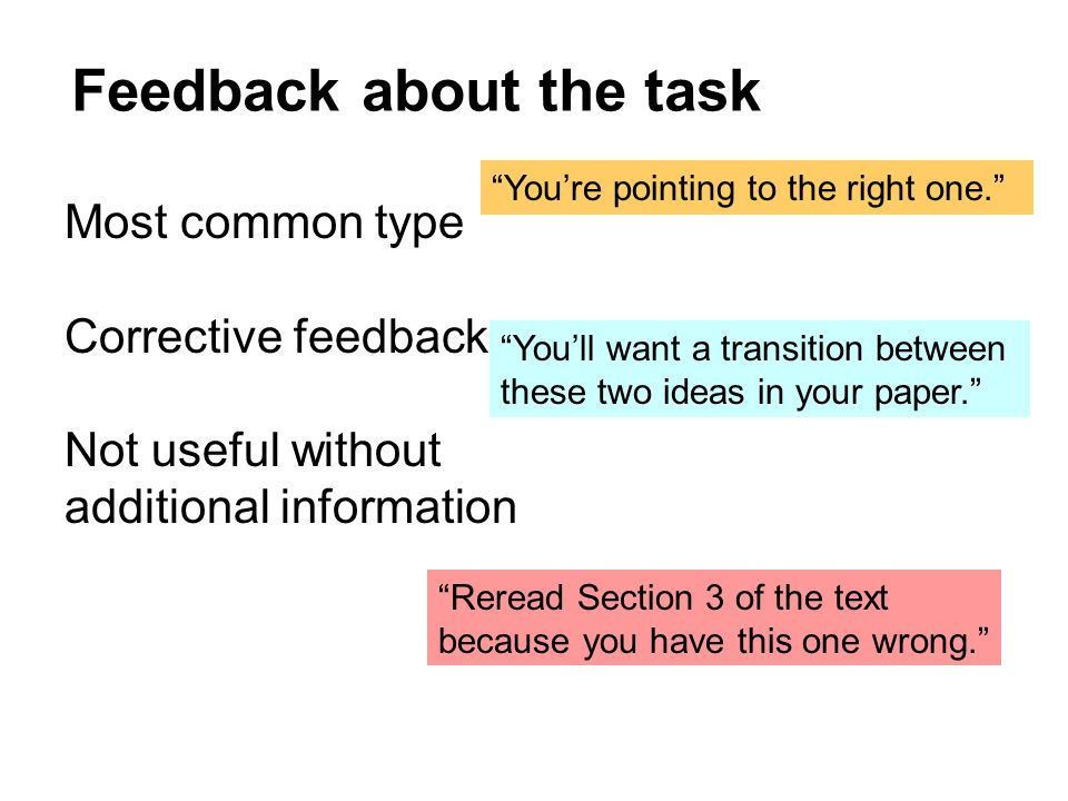 Feedback about the task Most common type Corrective feedback Not useful without additional information Youre pointing to the right one. Youll want a t