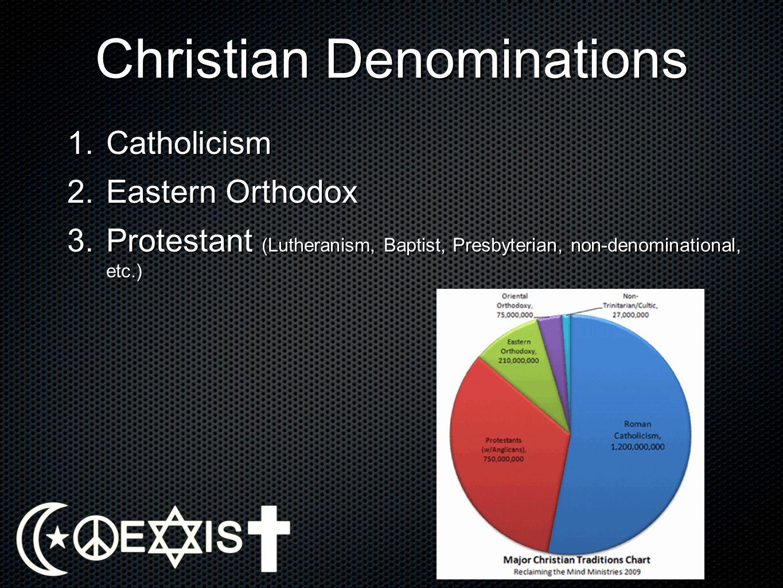 Christian Denominations 1.Catholicism 2.Eastern Orthodox 3.Protestant (Lutheranism, Baptist, Presbyterian, non-denominational, etc.)