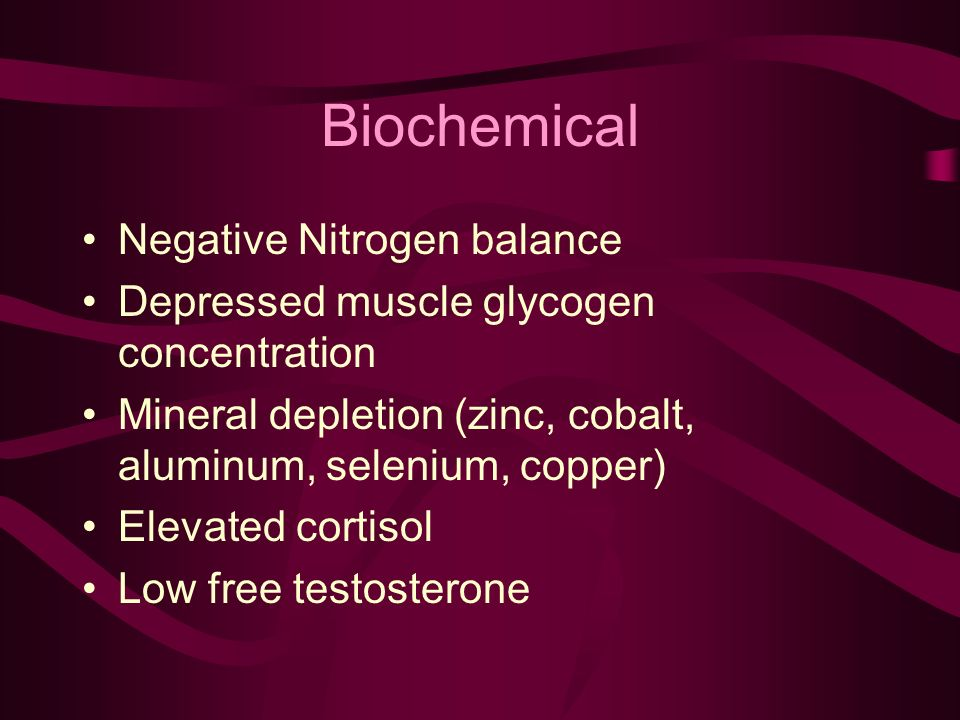 Biochemical Negative Nitrogen balance Depressed muscle glycogen concentration Mineral depletion (zinc, cobalt, aluminum, selenium, copper) Elevated cortisol Low free testosterone
