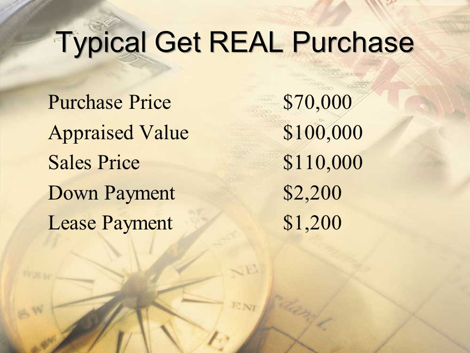 Purchase Price$70,000 Appraised Value$100,000 Sales Price$110,000 Down Payment$2,200 Lease Payment$1,200
