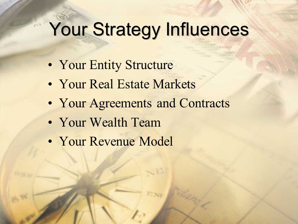 Your Entity Structure Your Real Estate Markets Your Agreements and Contracts Your Wealth Team Your Revenue Model