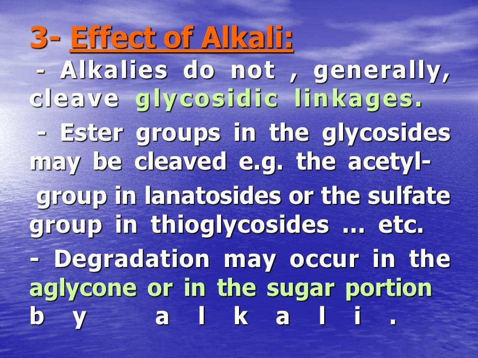 3- Effect of Alkali: - Alkalies do not, generally, cleave glycosidic linkages. - Alkalies do not, generally, cleave glycosidic linkages. - Ester group