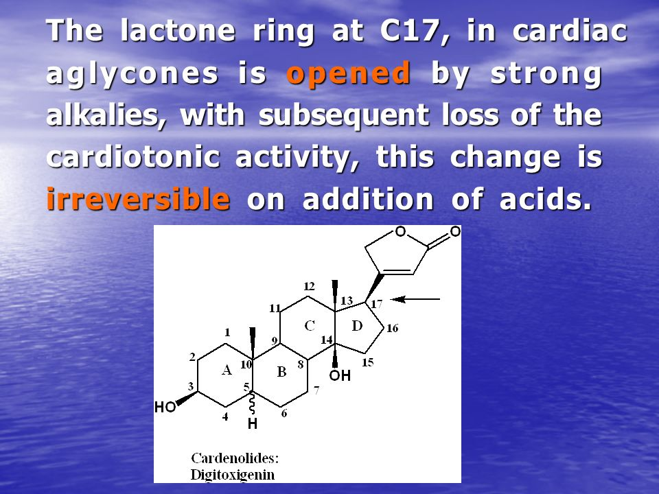 The lactone ring at C17, in cardiac aglycones is opened by strong alkalies, with subsequent loss of the cardiotonic activity, this change is irreversi