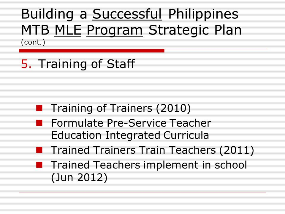 Building a Successful Philippines MTB MLE Program Strategic Plan (cont.) 5.Training of Staff Training of Trainers (2010) Formulate Pre-Service Teacher