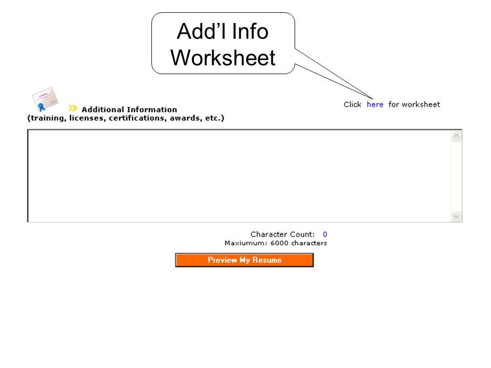 Addl Info Worksheet