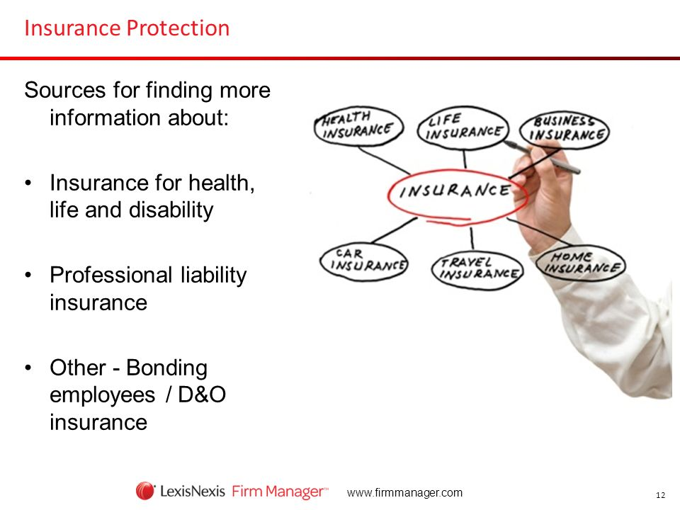12 www.firmmanager.com Insurance Protection Sources for finding more information about: Insurance for health, life and disability Professional liabili