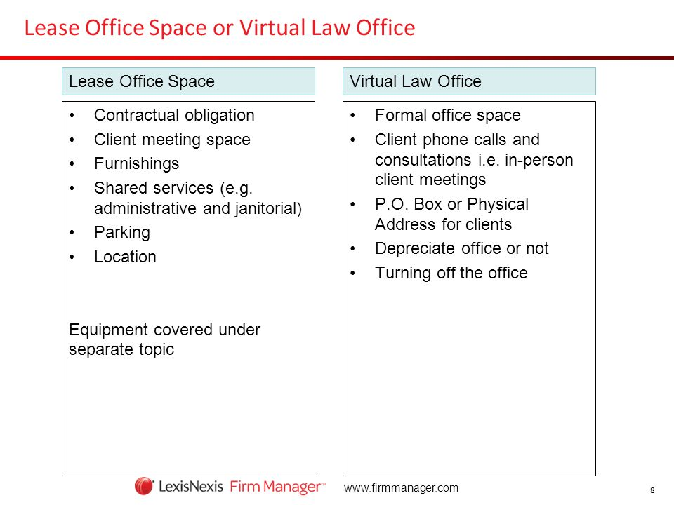 8 www.firmmanager.com Lease Office Space or Virtual Law Office Formal office space Client phone calls and consultations i.e. in-person client meetings