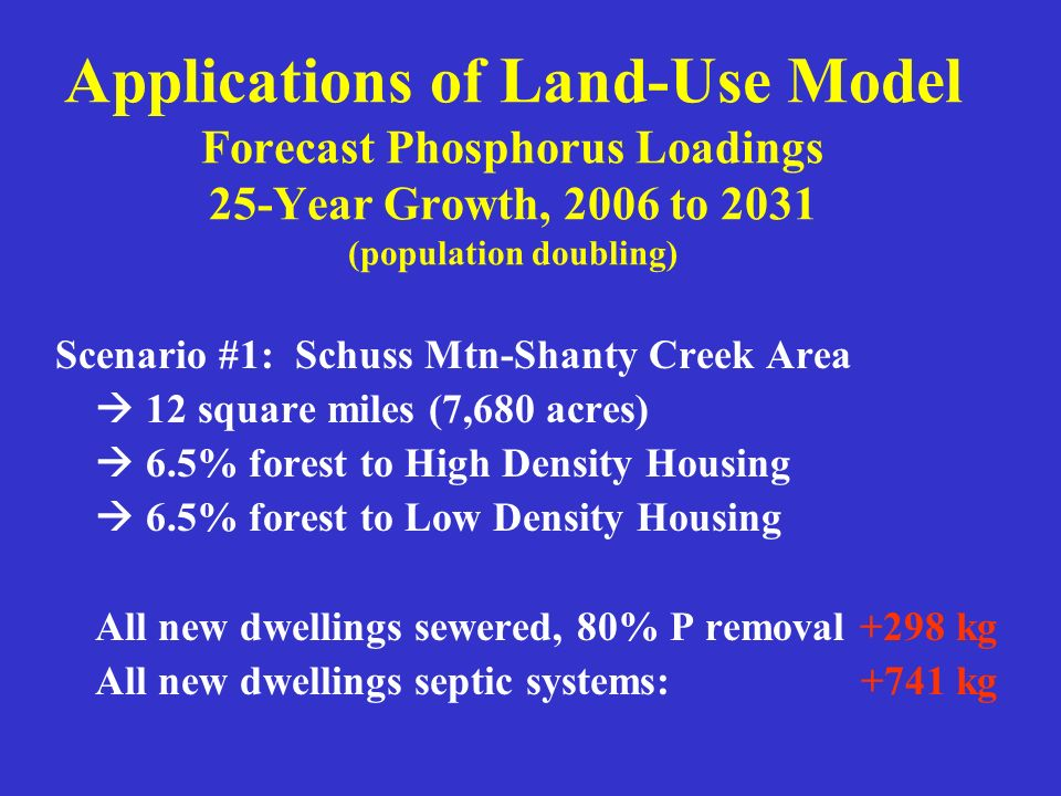 Applications of Land-Use Model Forecast Phosphorus Loadings 25-Year Growth, 2006 to 2031 (population doubling) Scenario #1: Schuss Mtn-Shanty Creek Ar