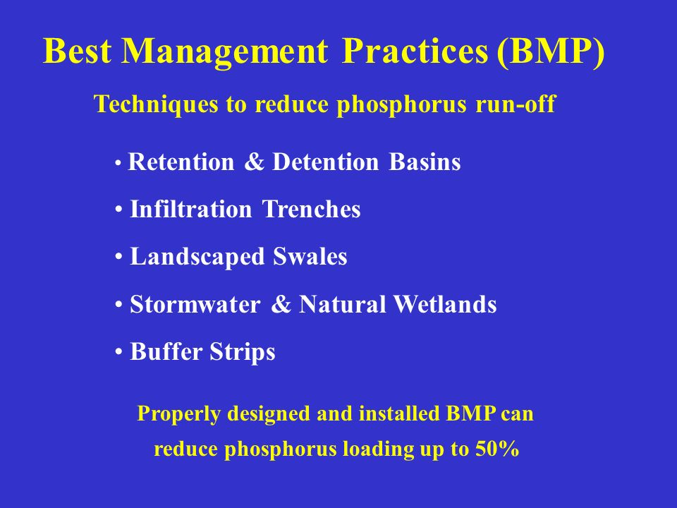 Best Management Practices (BMP) Techniques to reduce phosphorus run-off Retention & Detention Basins Infiltration Trenches Landscaped Swales Stormwate