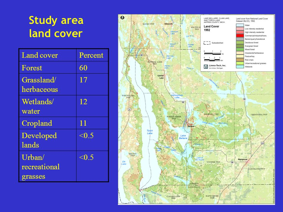 Watershed Sizes (land only) Lake Bellaire (land area only) 29,471 acres Clam Lake (land area only) 17,902 acres Three Lakes (Bellaire, Clam, Torch) 29,184 acres 76,557 acres Elk River Chain of Lakes (500 sq.