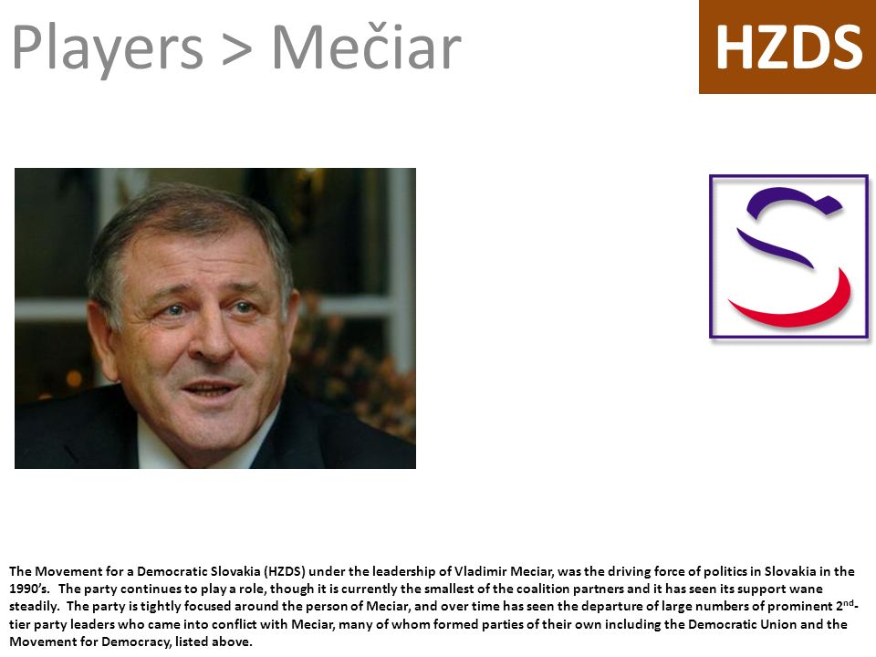 The Movement for a Democratic Slovakia (HZDS) under the leadership of Vladimir Meciar, was the driving force of politics in Slovakia in the 1990s. The