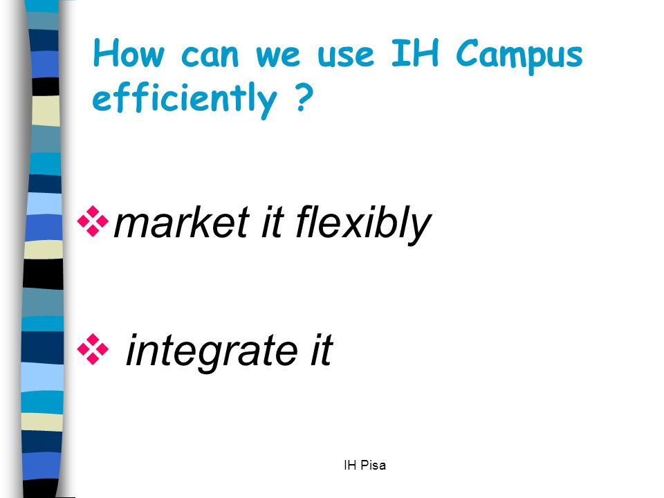 IH Pisa What can we do with IH Campus . A Not buy it.