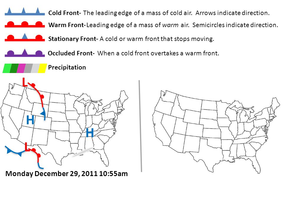 Copyright © 2011 InteractiveScienceLessons.com Cold Front-The leading edge of a mass of cold air. Arrows indicate direction. Warm Front- Leading edge