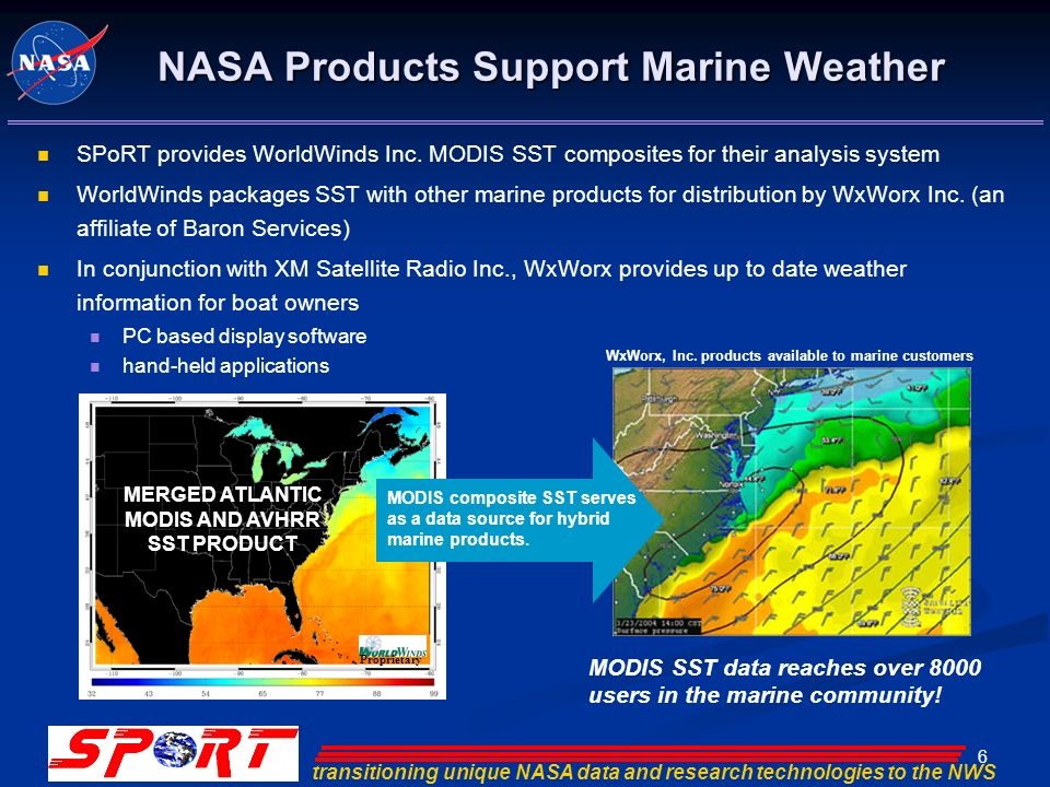 transitioning unique NASA data and research technologies to the NWS 6 Proprietary MERGED ATLANTIC MODIS AND AVHRR SST PRODUCT MODIS composite SST serves as a data source for hybrid marine products.