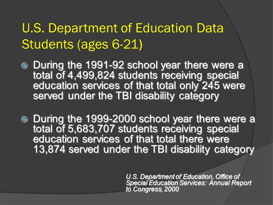 U.S. Department of Education Data Students (ages 6-21) During the 1991-92 school year there were a total of 4,499,824 students receiving special educa