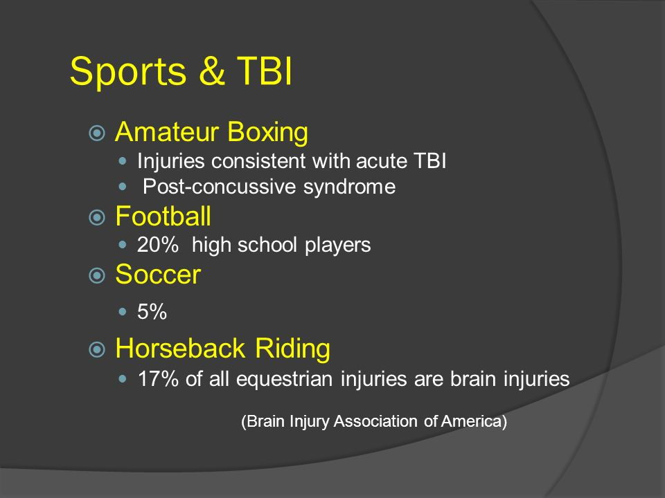 Sports & TBI Amateur Boxing Injuries consistent with acute TBI Post-concussive syndrome Football 20% high school players Soccer 5% Horseback Riding 17