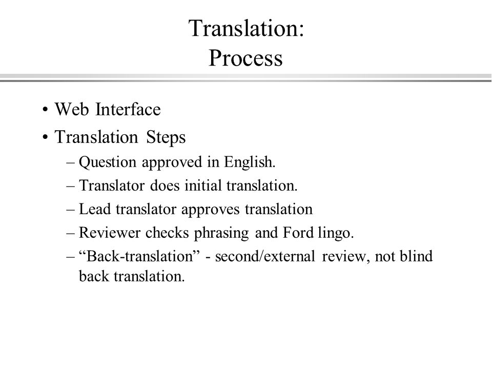Translation: Process Web Interface Translation Steps –Question approved in English.