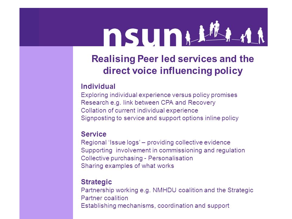 Realising Peer led services and the direct voice influencing policy Individual Exploring individual experience versus policy promises Research e.g. li