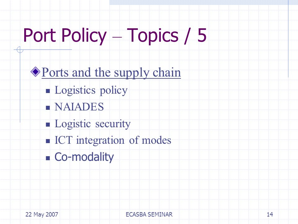 22 May 2007ECASBA SEMINAR14 Port Policy – Topics / 5 Ports and the supply chain Logistics policy NAIADES Logistic security ICT integration of modes Co-modality