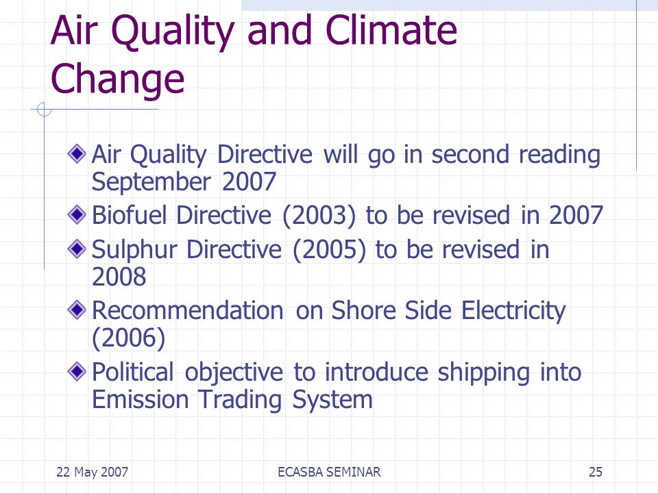 22 May 2007ECASBA SEMINAR25 Air Quality and Climate Change Air Quality Directive will go in second reading September 2007 Biofuel Directive (2003) to be revised in 2007 Sulphur Directive (2005) to be revised in 2008 Recommendation on Shore Side Electricity (2006) Political objective to introduce shipping into Emission Trading System