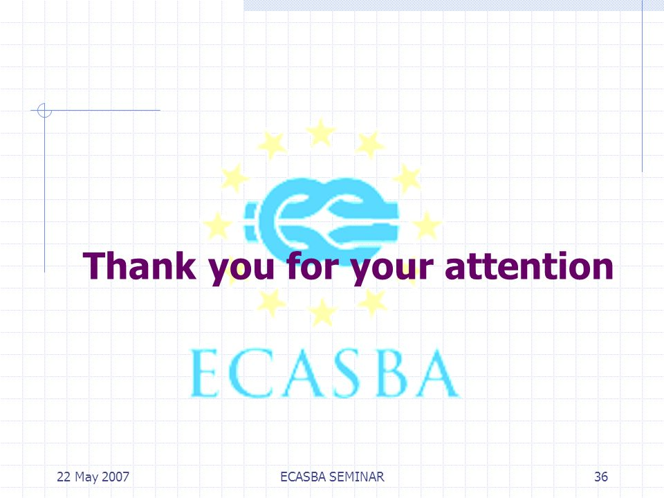 22 May 2007ECASBA SEMINAR36 Thank you for your attention