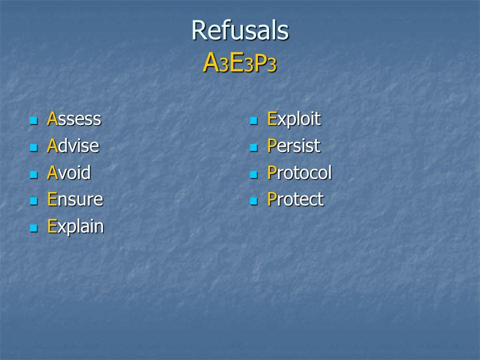 Refusals A 3 E 3 P 3 Assess Assess Advise Advise Avoid Avoid Ensure Ensure Explain Explain Exploit Exploit Persist Persist Protocol Protocol Protect P