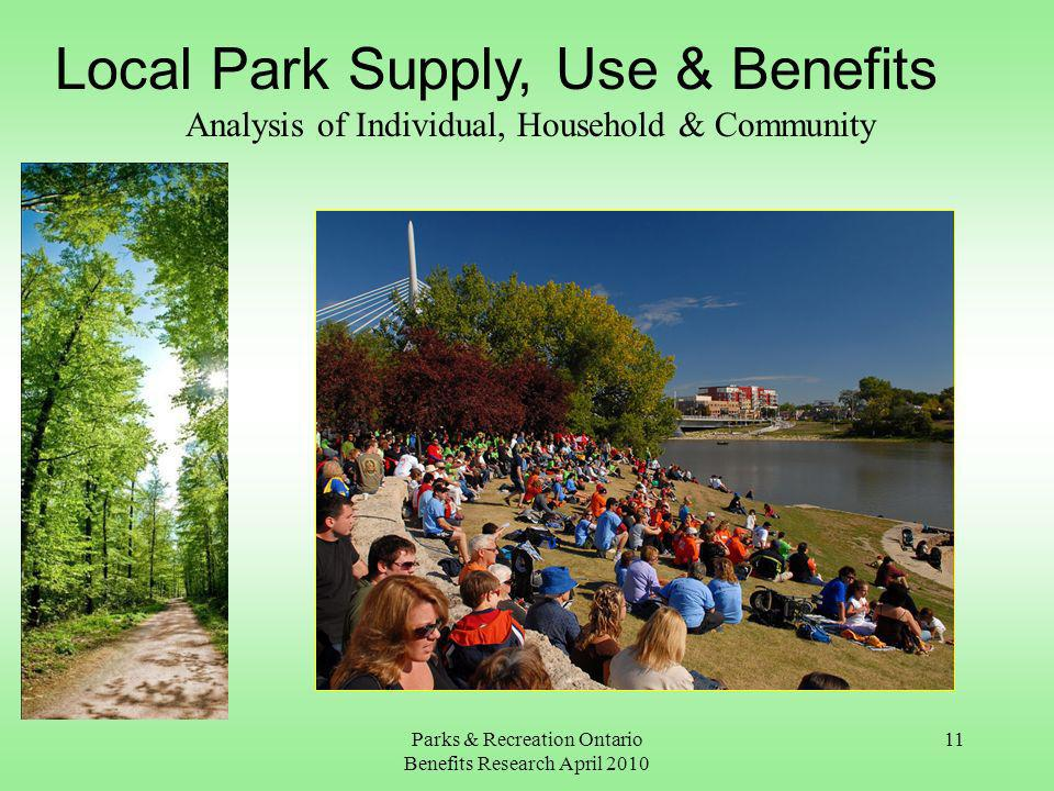 Parks & Recreation Ontario Benefits Research April 2010 11 Local Park Supply, Use & Benefits Analysis of Individual, Household & Community
