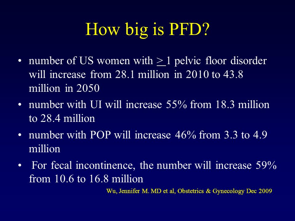 How big is PFD? number of US women with > 1 pelvic floor disorder will increase from 28.1 million in 2010 to 43.8 million in 2050 number with UI will