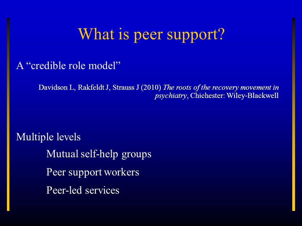 What is peer support? A credible role model Davidson L, Rakfeldt J, Strauss J (2010) The roots of the recovery movement in psychiatry, Chichester: Wil