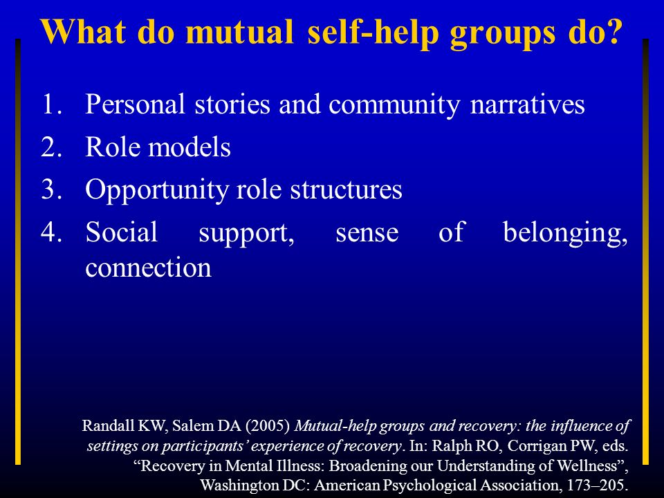 Mutual self-help groups Hearing Voices Network (www.hearing-voices.org) Schizophrenics Anonymous (www.sanonymous.org) I surrender.