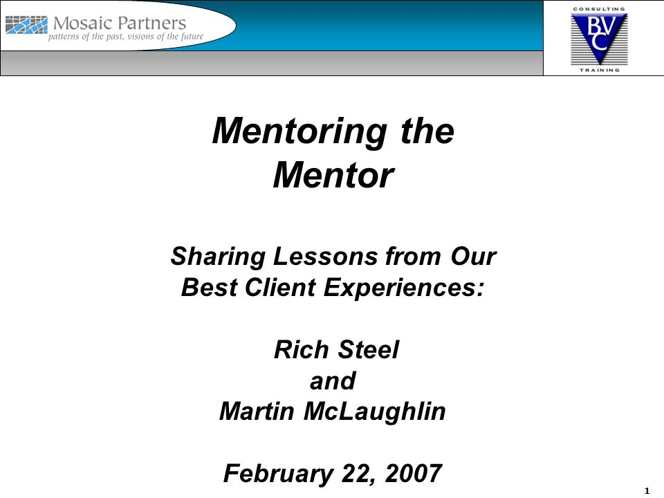 1 Mentoring the Mentor Sharing Lessons from Our Best Client Experiences: Rich Steel and Martin McLaughlin February 22, 2007