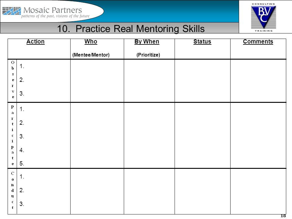 19 Understanding Styles is Critical (e.g.MBTI, DISC) –What type is best at being a Mentor.