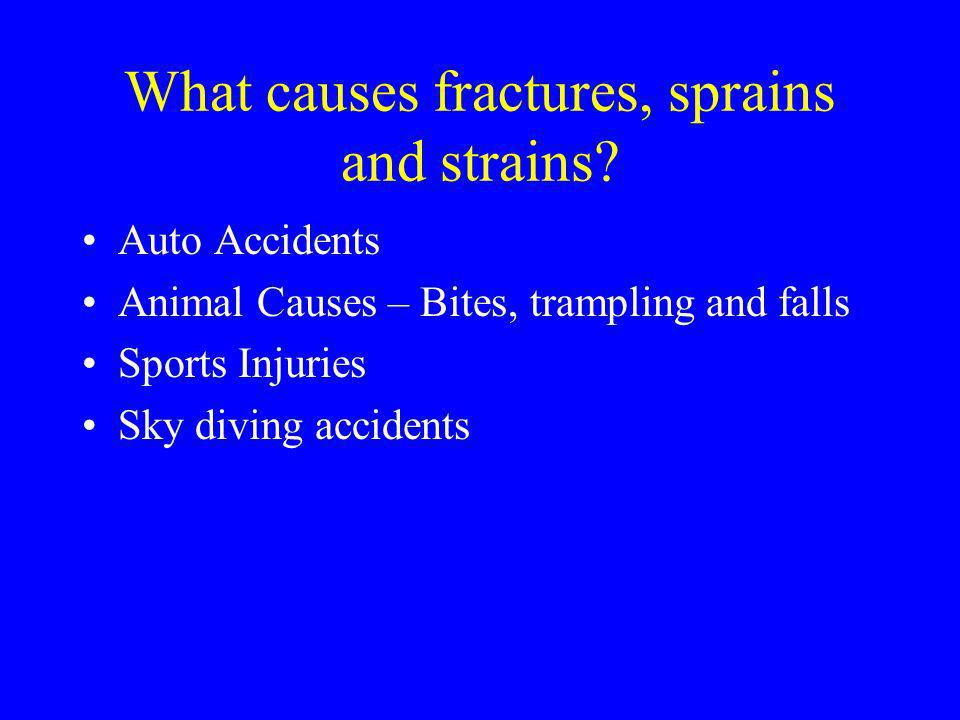 What causes fractures, sprains and strains? Auto Accidents Animal Causes – Bites, trampling and falls Sports Injuries Sky diving accidents