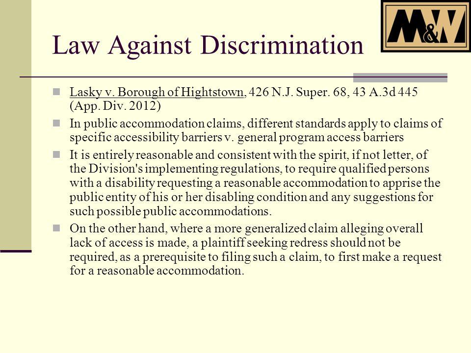 Law Against Discrimination Lasky v. Borough of Hightstown, 426 N.J.