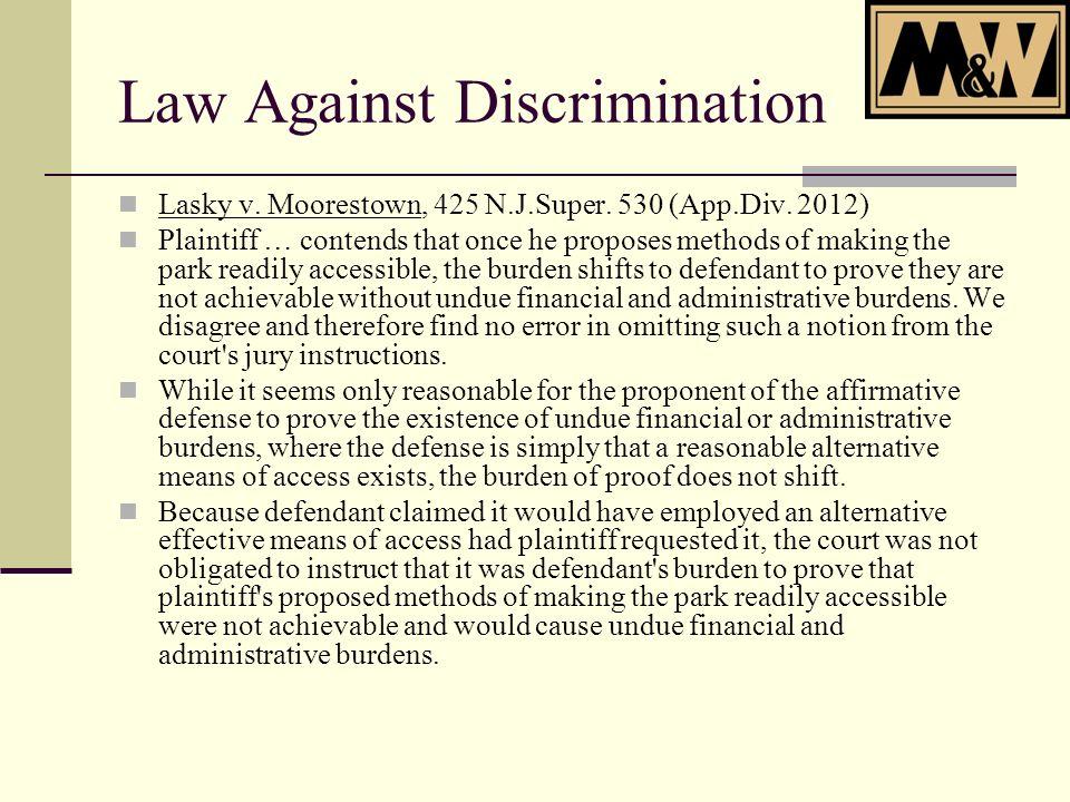 Law Against Discrimination Lasky v. Moorestown, 425 N.J.Super.