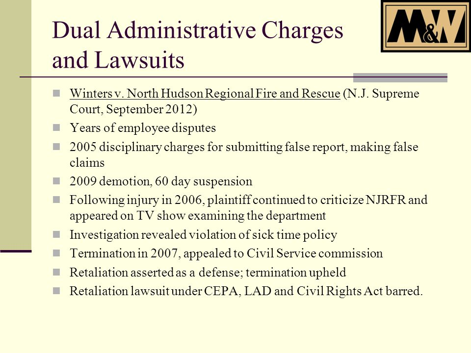 Dual Administrative Charges and Lawsuits Winters v.
