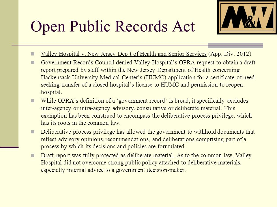Open Public Records Act Valley Hospital v. New Jersey Dept of Health and Senior Services (App.