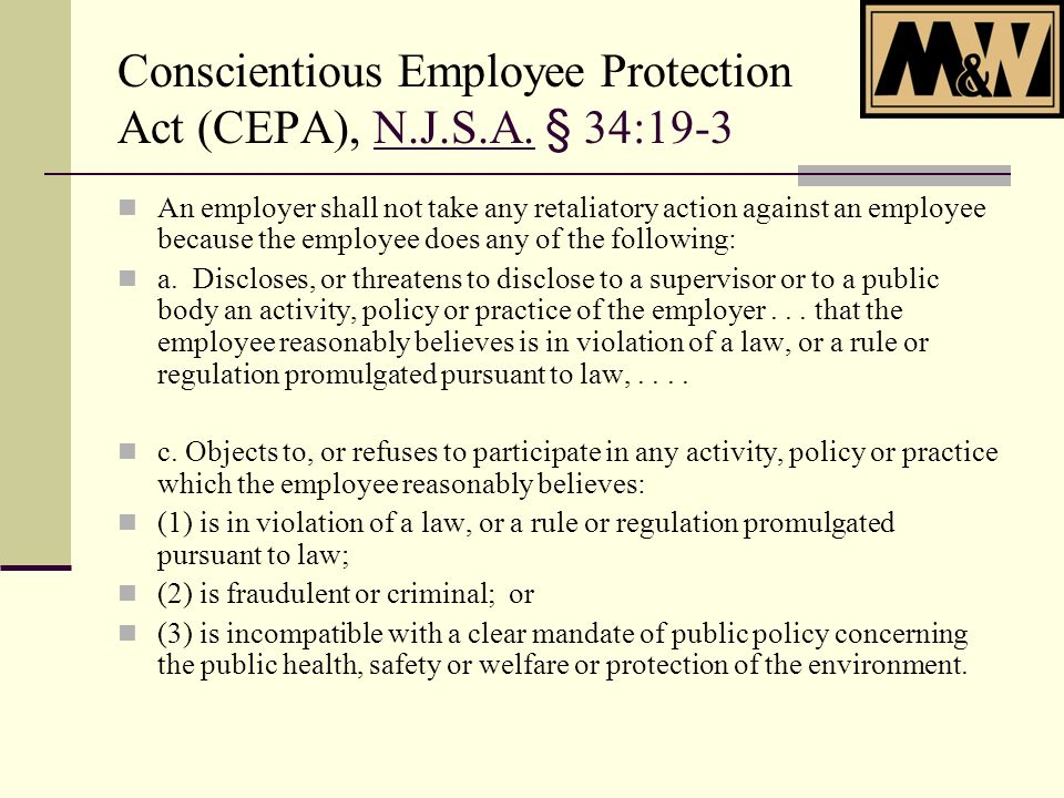 Conscientious Employee Protection Act (CEPA), N.J.S.A.
