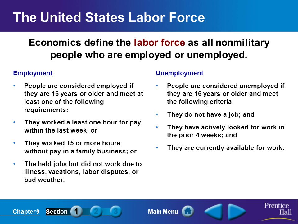 Chapter 9SectionMain Menu Economics define the labor force as all nonmilitary people who are employed or unemployed. The United States Labor Force Emp