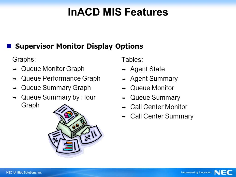 NEC Unified Solutions, Inc. InACD MIS Features Graphs: Queue Monitor Graph Queue Performance Graph Queue Summary Graph Queue Summary by Hour Graph Tab