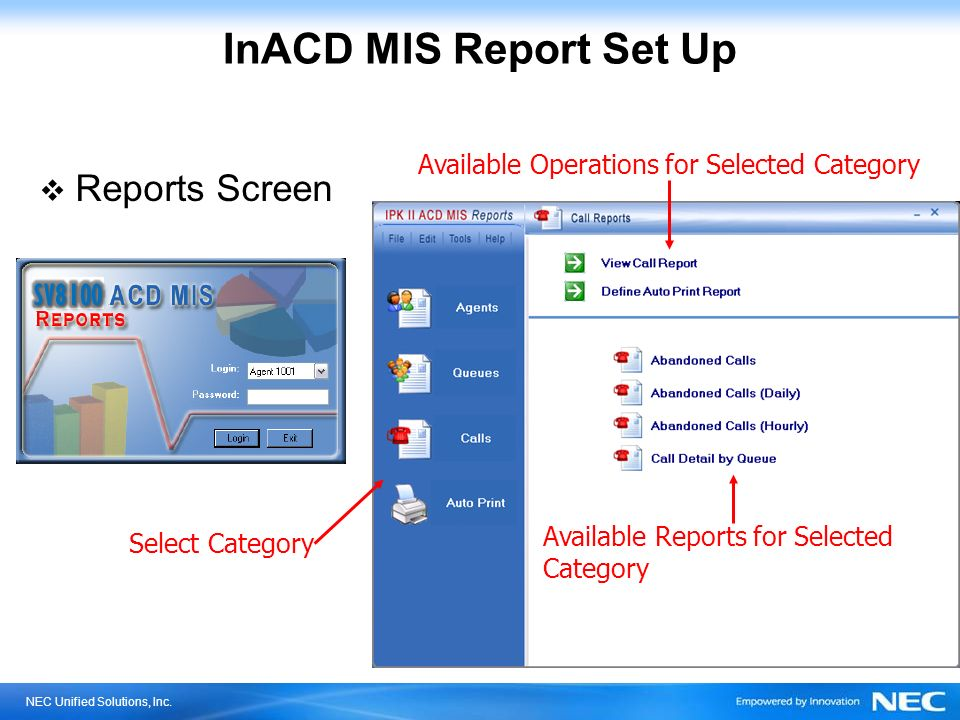 NEC Unified Solutions, Inc. InACD MIS Report Set Up Reports Screen Select Category Available Operations for Selected Category Available Reports for Se