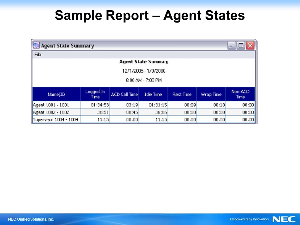 NEC Unified Solutions, Inc. Sample Report – Agent States