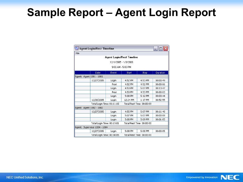 NEC Unified Solutions, Inc. Sample Report – Agent Login Report