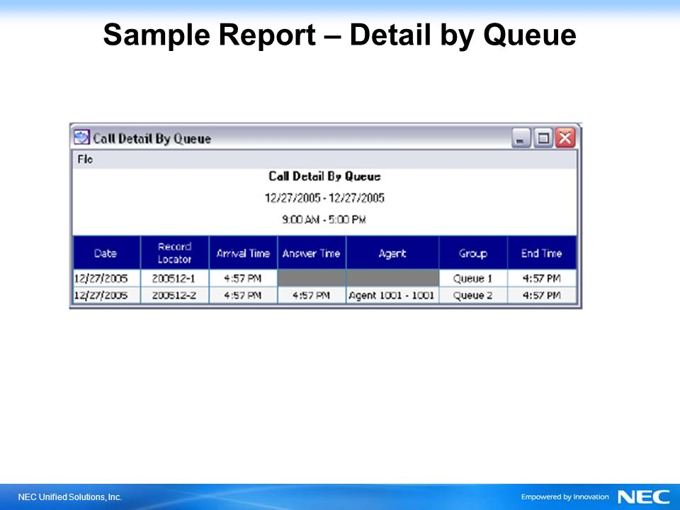 NEC Unified Solutions, Inc. Sample Report – Detail by Queue