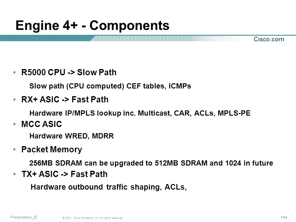 114 © 2001, Cisco Systems, Inc. All rights reserved. Presentation_ID Engine 4+ - Components R5000 CPU -> Slow Path Slow path (CPU computed) CEF tables
