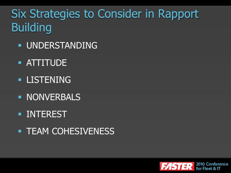 Six Strategies to Consider in Rapport Building UNDERSTANDING ATTITUDE LISTENING NONVERBALS INTEREST TEAM COHESIVENESS