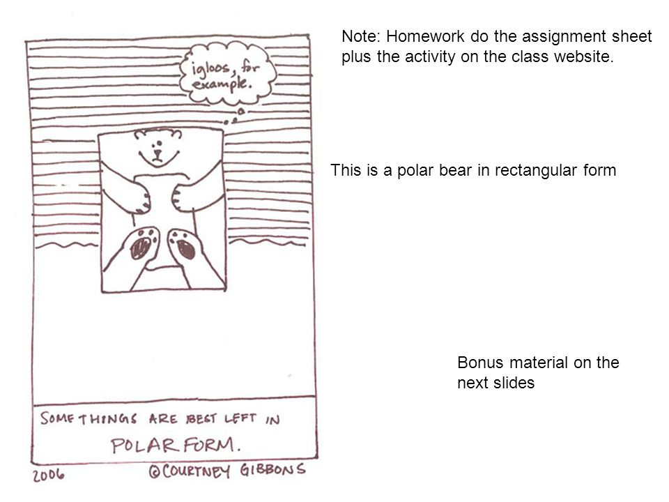 Bonus material on the next slides This is a polar bear in rectangular form Note: Homework do the assignment sheet plus the activity on the class websi