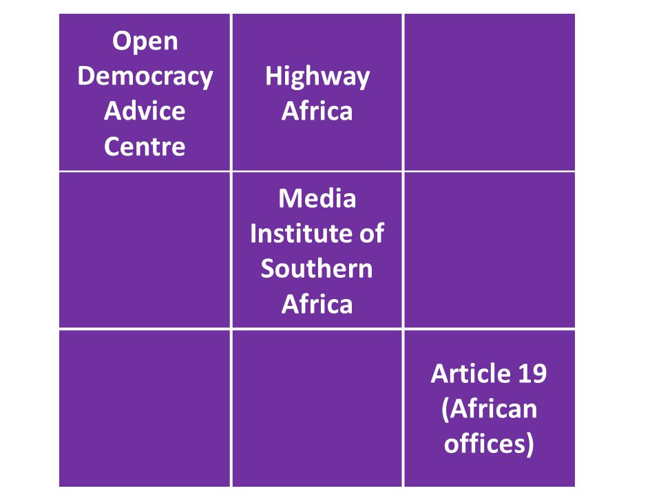 Open Democracy Advice Centre Highway Africa Media Institute of Southern Africa Article 19 (African offices)