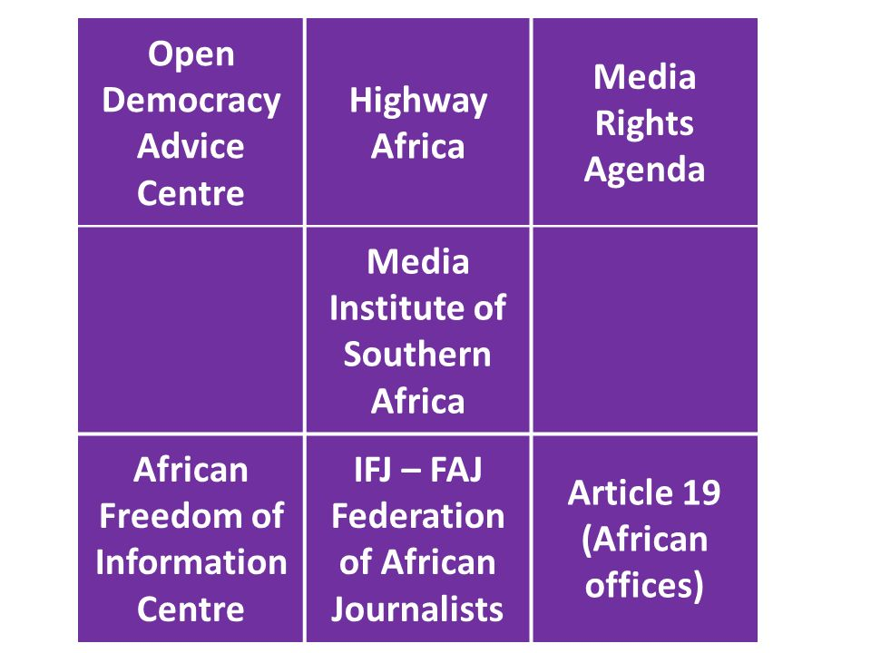 Open Democracy Advice Centre Highway Africa Media Rights Agenda Media Institute of Southern Africa African Freedom of Information Centre IFJ – FAJ Federation of African Journalists Article 19 (African offices)