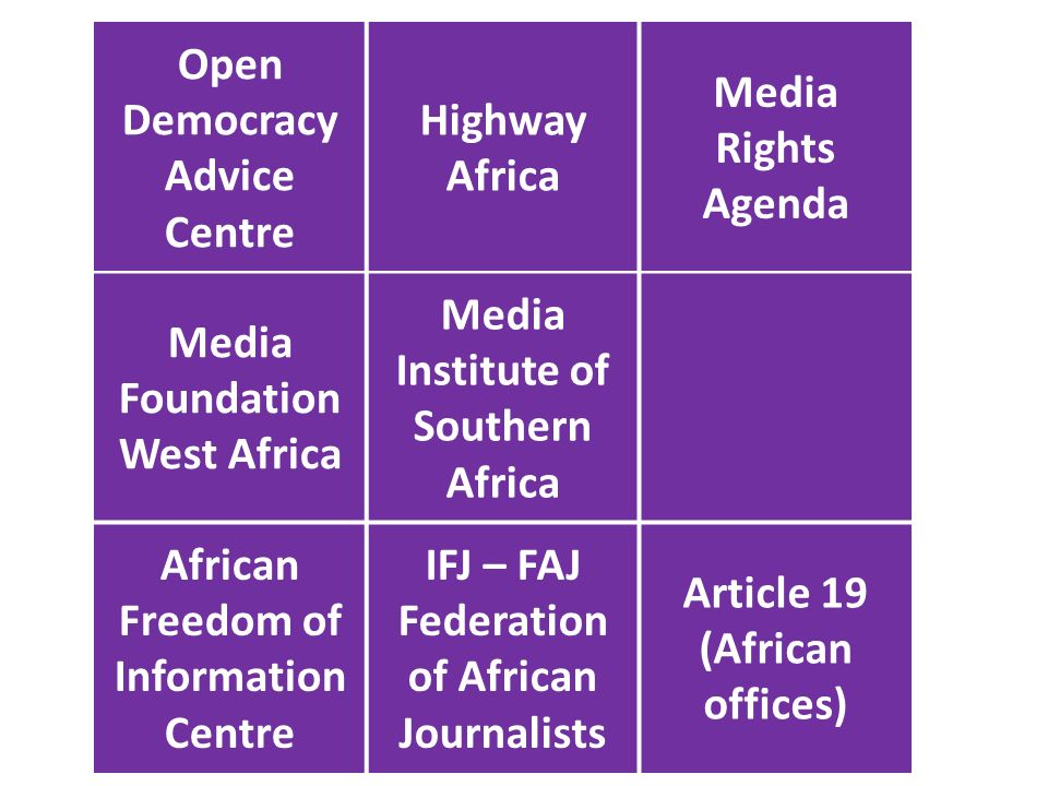 Open Democracy Advice Centre Highway Africa Media Rights Agenda Media Foundation West Africa Media Institute of Southern Africa African Freedom of Information Centre IFJ – FAJ Federation of African Journalists Article 19 (African offices)